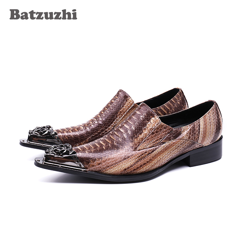 Здесь продается  Batzuzhi 2018 New Men Dress Shoes Leather Pointed Iron Toe Brown Genuine Leather Shoes Men for Business, Wedding and Party, US12  Обувь