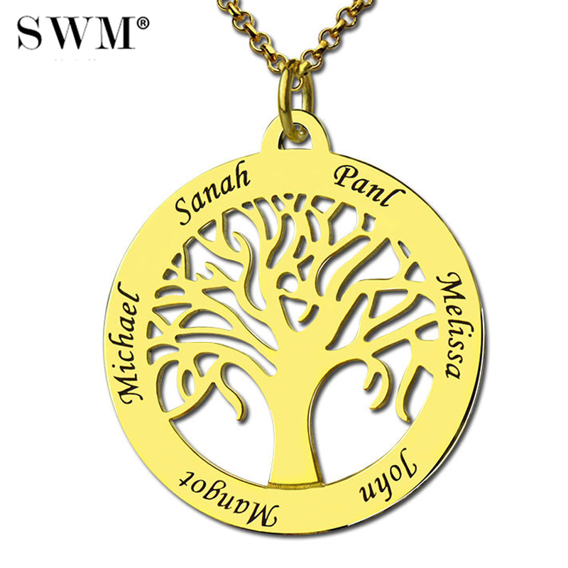 Womens Costume Letter Necklace Custom Family Tree of Life Necklaces with Families Names Gold Collana Present for Mom MotherWomens Costume Letter Necklace Custom Family Tree of Life Necklaces with Families Names Gold Collana Present for Mom Mother