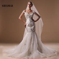 SHAMAI 2018 Luxury Wedding Dress Boat Neck Appliques Sparkled Beading Sexy Mermaid Wedding Gowns estidos de Noivas