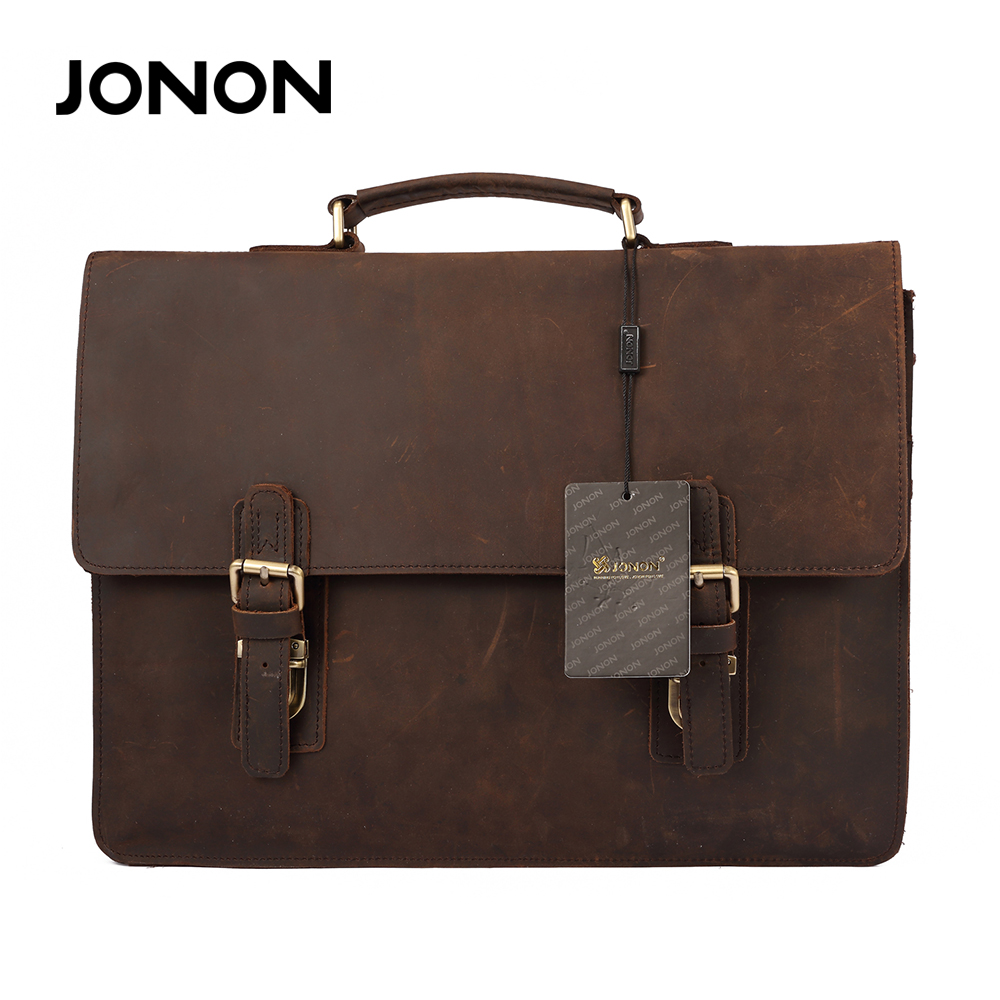 все цены на JONON Crazy-Horse Leather Vintage Men Bags Business Laptop Portfolio Travel Bag Handbags Men Messenger Shoulder Bags онлайн