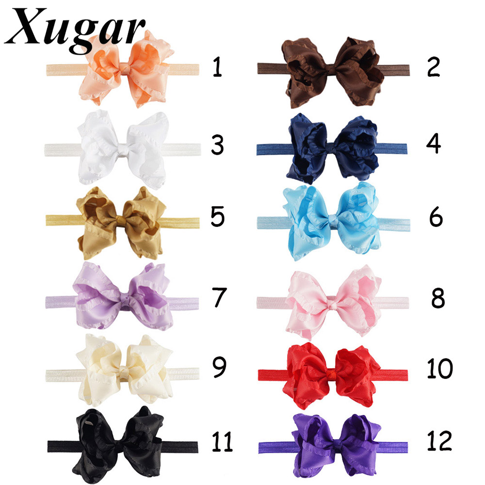 2 Pcs 6'' Boutique Solid Lace Hair Bow Headband With Elastic Band Baby Children Kids Hair Accessories 10pcs sweet diy boutique bow headbands elastic head band children girl hair accessories headwear wholesale