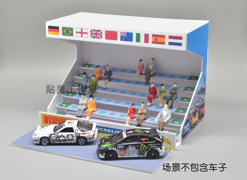 1/64 parking space garage scene platform racing stand including 10pcs figure DIY toy  WITHOUT CARS