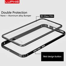Luphie Бренд Алюминиевый Металлический Каркас Задняя Крышка для Huawei P10/P10 Плюс + 9 H Прозрачного Закаленного Стекла для P10 Плюс