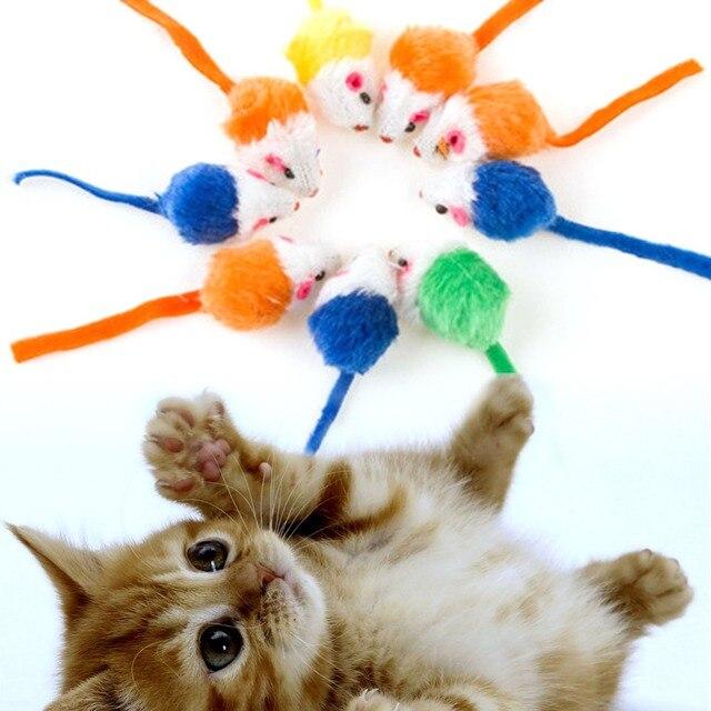 10 pz/lotto Giocattoli Del Gatto Mini False Mouse Giocattoli Per I Gatti Gattino