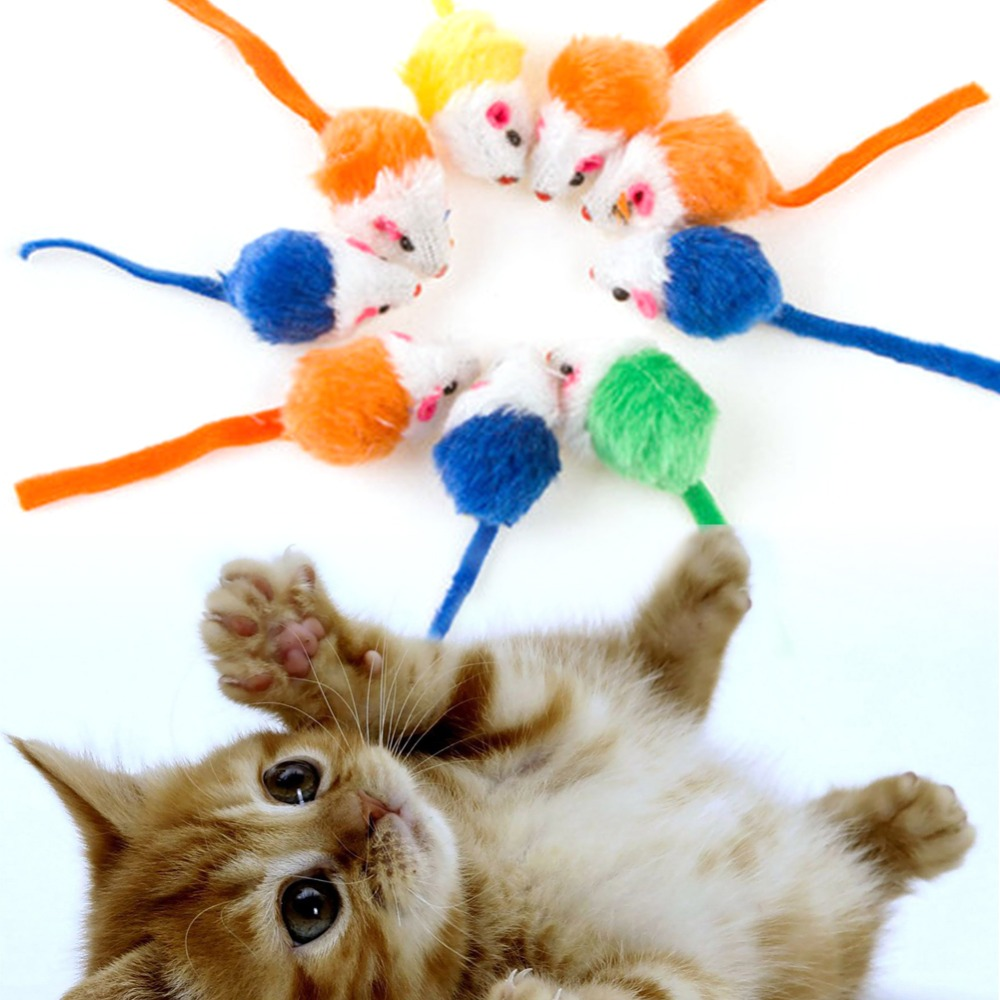 10Pcs/lot Cat Toys Mini False Mouse Toys For Cats Kitten Animal Funny Playing Interactive Toy