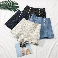 Весна Осень двубортная Высокая талия широкие брюки шорты для женщин плед яркий шелк тонкие короткие брюки женские А-силуэт женские шорты