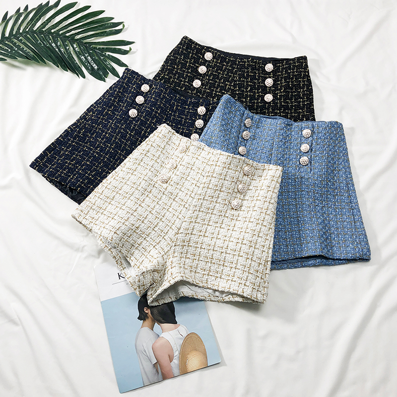 Spring Autumn Double-breasted High Waist Wide Leg   Shorts   For Women Plaid Bright Silk Slim   Short   Pants Ladies A-line Femme   Shorts