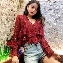 women's Ruffle Blouse Woman Long Sleeve Chiffon Blouses Fashion Wave Point Female V-neck Perspective Shirt ruffle trim tied neck blouse