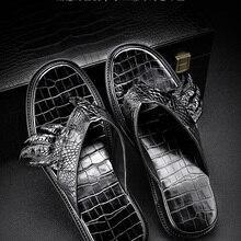 100% real genuine crocodile skin men summer shoe slipper bla