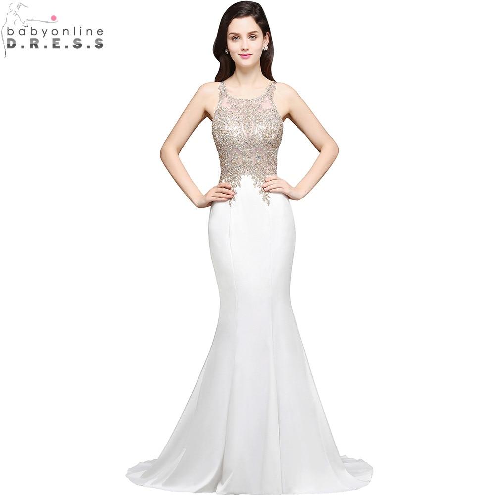 Robe de Soiree Longue Sexy Sheer Back Beaded Lace Mermaid Evening Dress Long Cheap White Evening