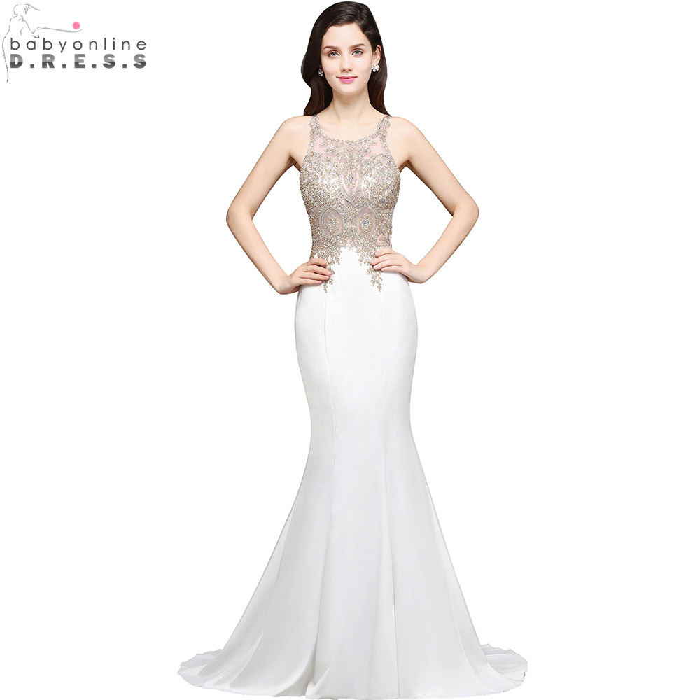 Robe De Soiree Longue Sexy Sheer Back Beaded Lace Mermaid Evening Dress  Long Cheap White Evening Gown Vestido De Festa