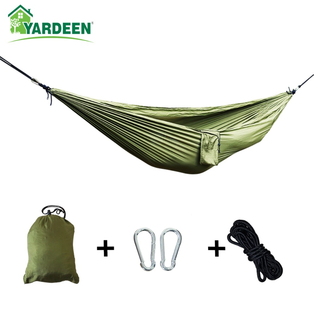 Single & Double Camping Hammock With Hammock Tree Straps 260*140cm Portable Parachute Nylon Hammock For Backpacking Travel