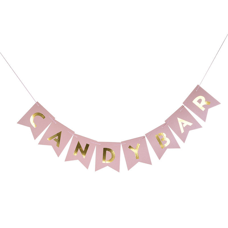 Art Kraft Paper Rustic Sweet Candy Bar Banner Kids Gift Bunting Garland Birthday Party Baby Shower Bridal Party Supplies ...
