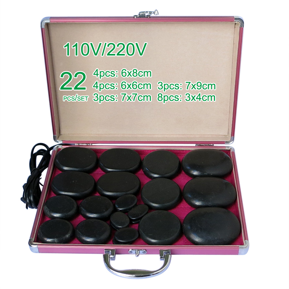 NEW wholesale & retail electrical heating 110/200V SPA hot energy stone 22pcs/set with heat box (model 3+3+4+4+8)