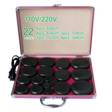 NEW wholesale & retail electrical heating 110/200V SPA hot energy stone 22pcs/set with heat box (model 3+3+4+4+8) massage stone box massageador beauty stone new wholesale electrical heating 220v spa hot energy stone 22pcs set with heat box