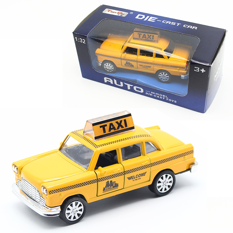 1:32 Diecast Mini Yellow Blinkande Musical Drag Back Taxi Alloy Car Modell med Sound Light Leksaker För Barn Barn Bil Leksaker