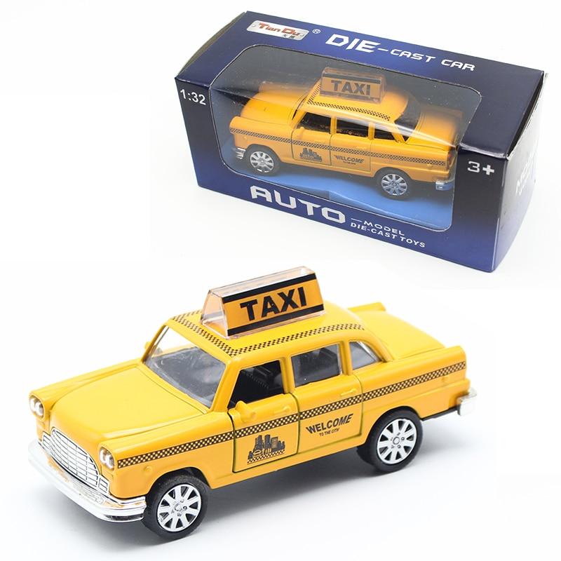 1:32 Diecast Mini Yellow Flashing Երաժշտական Քաշեք ետ Տաքսի Ալյումինե Ավտոմեքենաների մոդելը ՝ լույսի թեթև խաղալիքներով երեխաների համար Մանկական ավտոմեքենաներ Խաղալիքներ