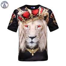 2017 Mr.1991INC IHot promote males's quick sleeve shiny rayon 3d t-shirt print crown lion Stage Performance T-Shirt summer time Tops tees