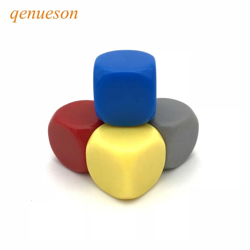 20 Pçs/lote 22mm Em Branco Dados Canto Redondo Acrílico Dice Dados Em Branco Pode Escrever Cor Hexaedro Criatividade DIY Atacado Conjunto qenueson
