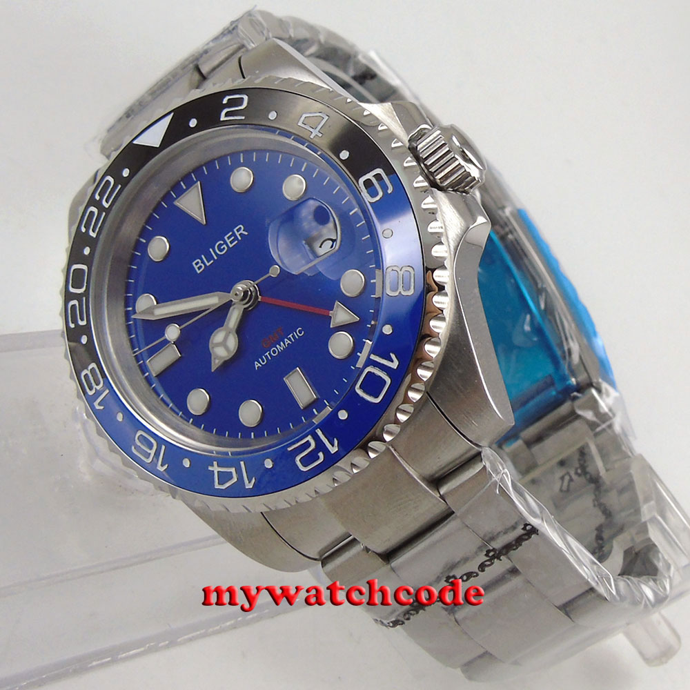 все цены на 40mm Bliger blue dial ceramic bezel GMT sapphire glass automatic mens watch B190 онлайн