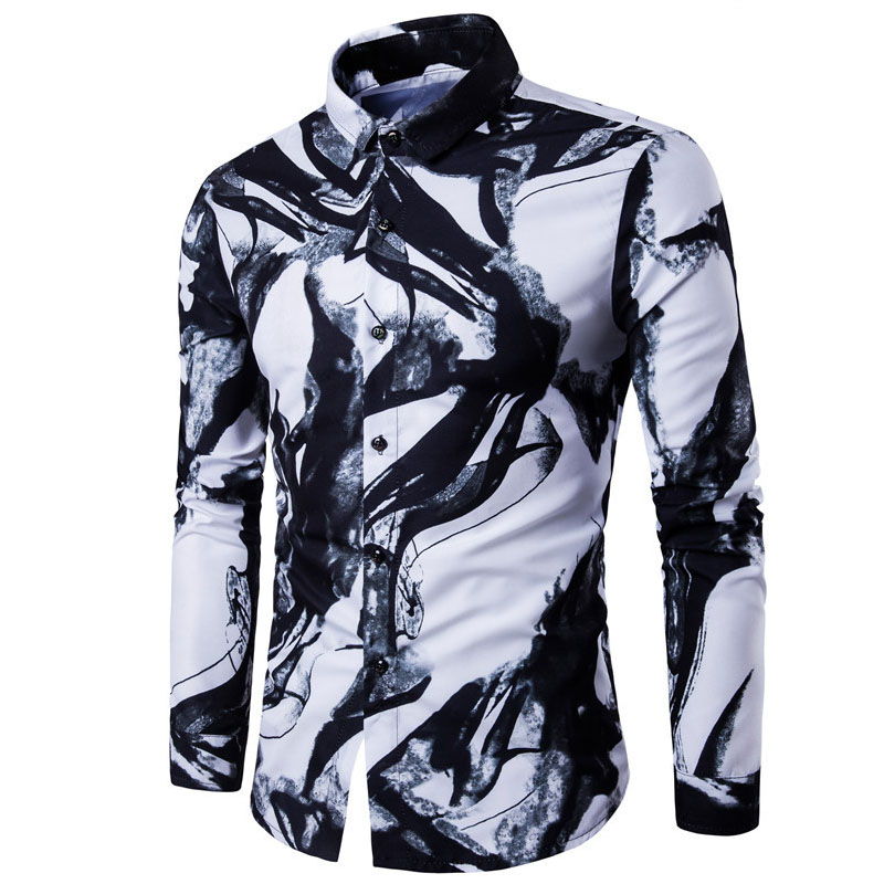 WSGYJ Men Shirts Luxury Brand Long Sleeve Tops 2019 Fashion Ink Printed Slim fit Casual Shirts China Style Men's Clothing