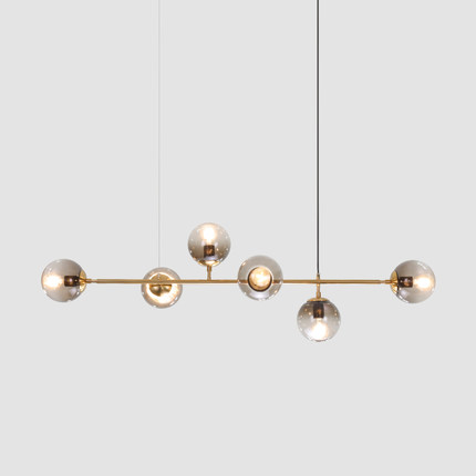 Us 129 99 35 Off Modern Hand Blown Glass Shade Chandelier Long Hanging Suspension For Deco Home Gold Glass Ball Magic Bean Luminaire Plafonnier In