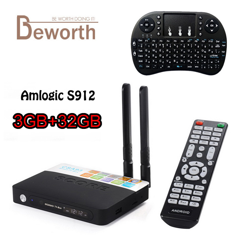 3GB 32GB CSA93 TV Box Amlogic S912 Octa Core Android 6.0 TV Box 2.4/5G WiFi H.265 4K 1000M BT4.0 Smart Meida Player