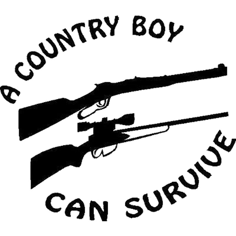 15.2CM*13.3CM A Country Boy Can Survive Truck Fun Sticker Gun Car Stickers Car Styling And Decals Black Sliver C8-0639