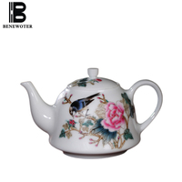 200cc Chinese Style Porcelain Handgrip Teapot Art Drinkware Hand Painted Flower Bird Pattern Home Coffee Milk Pot Tea Kettles