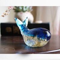 Deep sea blue Glass whales decoration crafts Crystal Fish Glaze Shark cetacean Figurines & Miniatures wedding gift Home Decor