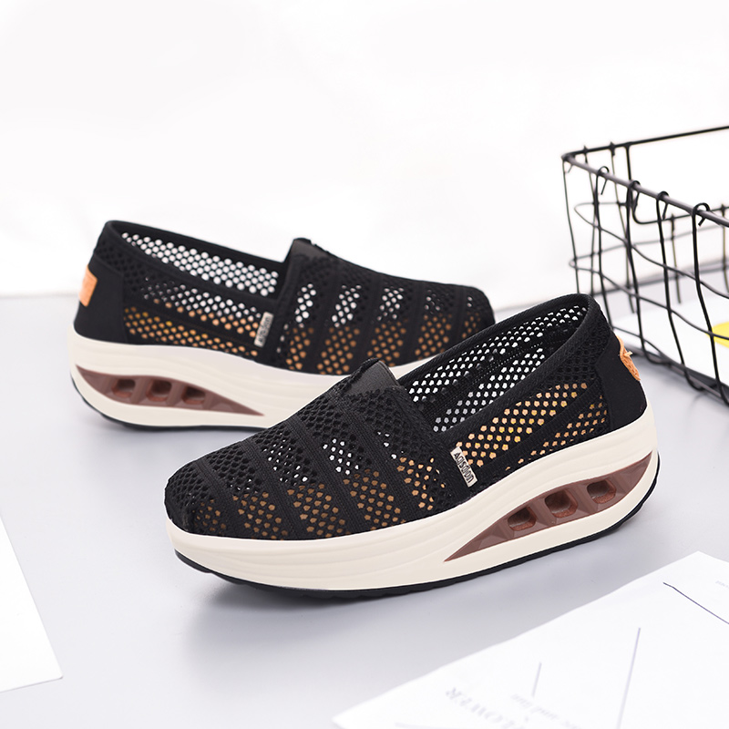 Summer Women Lace Flat Platform Shoes Woman Breathable Casual Air Mesh Breathable Shoes Slip On Fabric Shallow Sneaker fashion summer mesh lace low heel breathable casual dress shoes flat women licht schoenen sweet slip on outdoor walking shoes