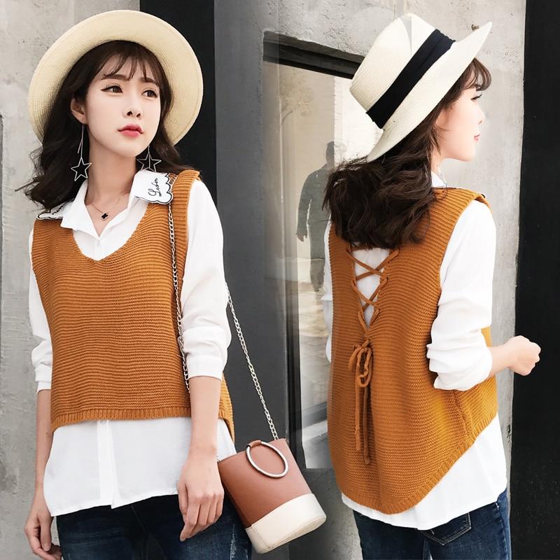 2019Women Back Lace Up Vest Sweater Women Vintage Knitted Pullover Top Jumper Female Irregular Hem V-Neck Sweaters Knitting Vest
