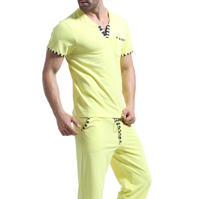 Brand Cotton Pajama Set Sleepwear for Men Solid Pants Pajama  Tees Undershirts Tshirts  Casual Short Sleeve Men T Shirt