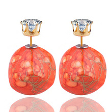 11 Colors Brand Design Crack Multicolor Double Sides Earrings Bohemian Geometric Gold Color Crown Crystal Earrings For Women