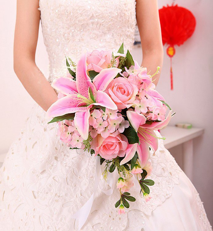 New arrival Pink/Ivory Lily Silk Wedding Bouquets/Bridal Bouquets-in ...