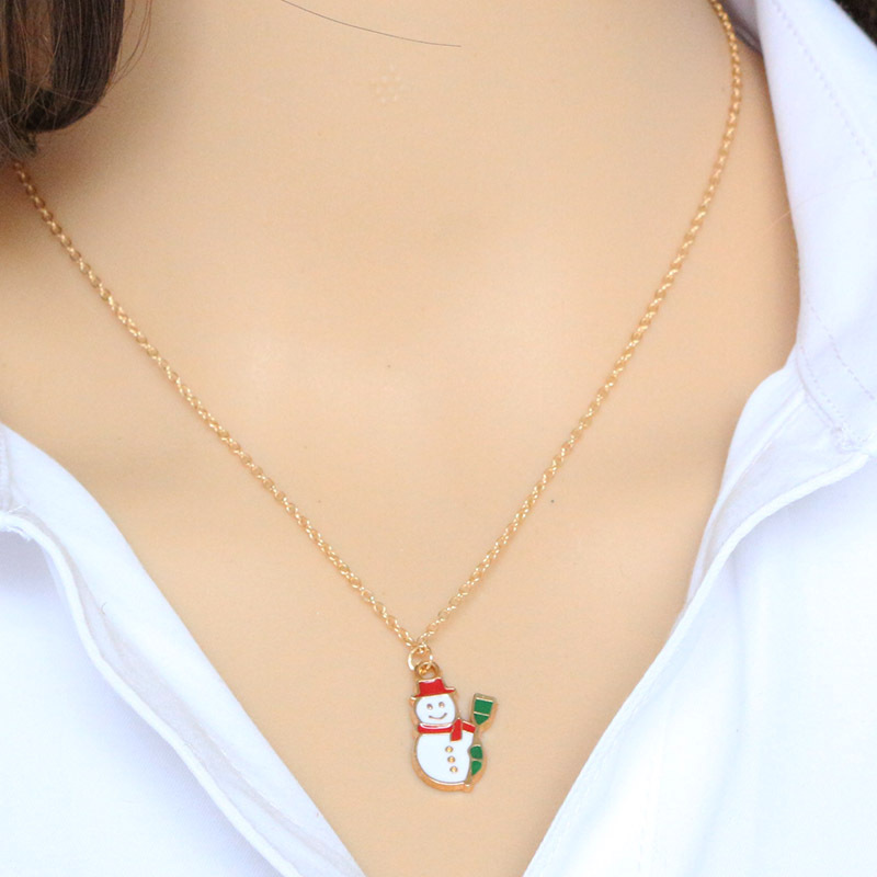 1pcs Hot Sale Drip Xmas Snowman Pendant Necklace Tiny Clavicle Chain Collares For Women Jewelry Valentine's Day Gift Christmas