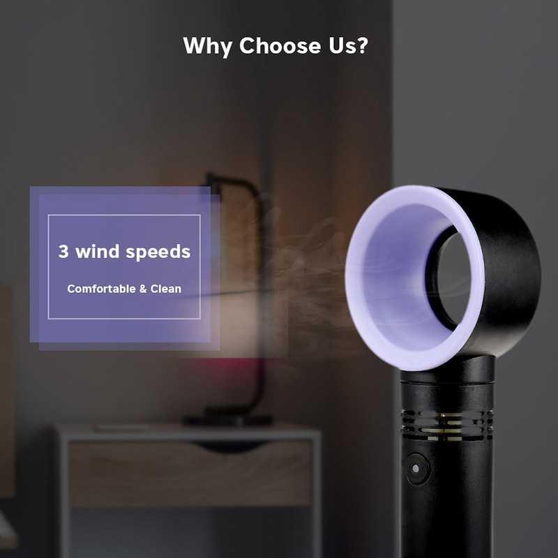 Electric Bladeless Fan Portable Cordless Usb Charging Mini Handheld Fan Handheld Mini Cooler No Leaf Handy Fan