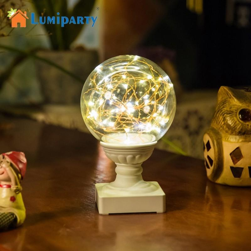 LumiParty Romantic Night Light Fiery Trees & Silver Flowers LED Small Ball Moon Lamp with Round Pedestal Home Decoration Gift