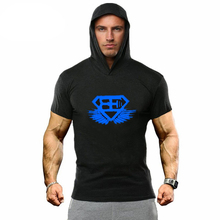 New Fitness hoodies Shirt Men Bodybuilding short Sleeve hooded T Shirt workout Tops Shirts men hooded Tees