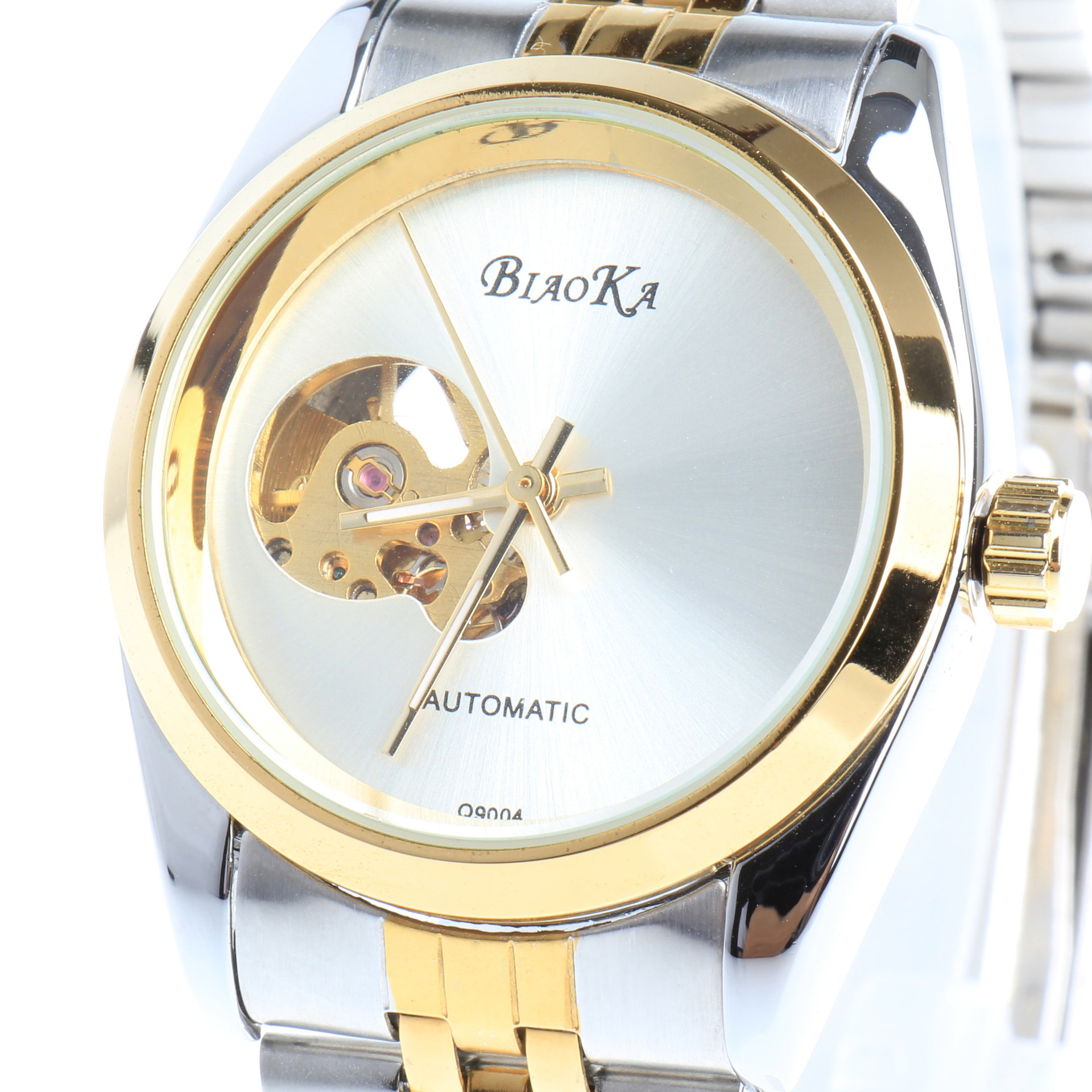 2016 NEWEST BIAOKA GOLD mechanical watch Top Brand Luxury automatic watch men 20mm stainless steel skeleton