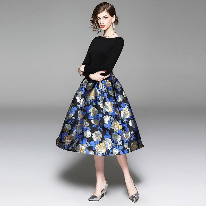 Haute Jacquard De Parti Floral Jsxdhk Automne O Imprimé Robes Printemps Patchwork Cou Bal Femmes Robe Qualité Noir q4WqdE
