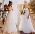 Халат Де Mariage Элегантный Тюль Пляж Свадебные Платья 2017 Милая линия Дешевые Свадебные Платья trajes де novias boho свадебные платье