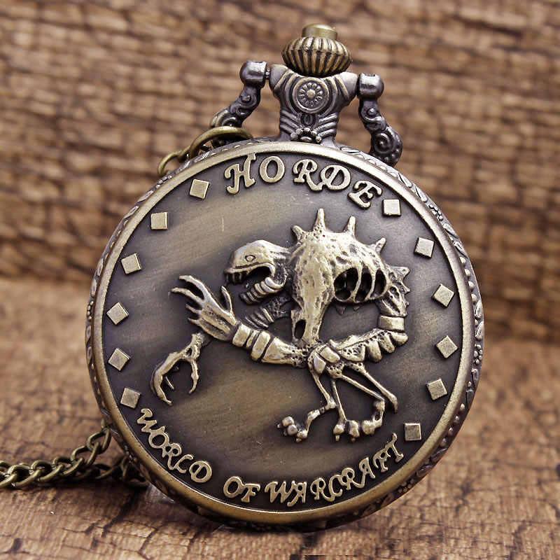 הגעה חדשה ייחודי עיצוב חריטה העולם של Warcraft קוורץ שעון כיס שרשרת תליון שרשרת גברים מתנות saat Relogio דה Bolso