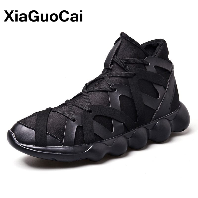 XiaGuoCai Spring Autumn Fashion High Top Mens Casual Shoes Breathable Lace Up Lightweight High Quality Mens Footwear Sneaker