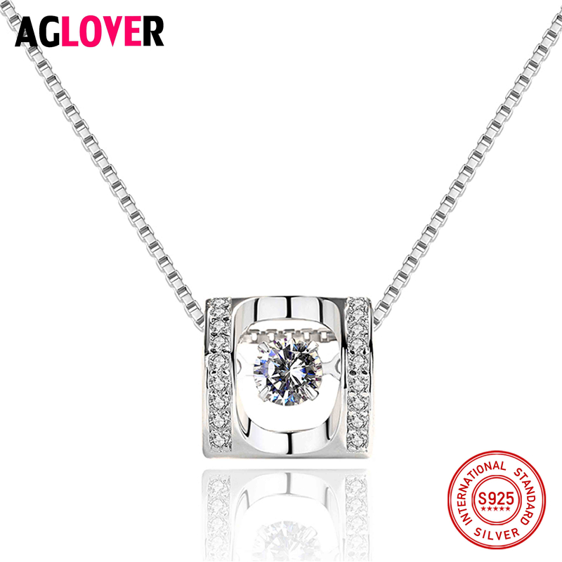 Hot 925 Sterling Silver Necklace Pendants Jewelry For Women With Box Chain Luxurious Big Rotating CZ Crystal Stone Accessories in Necklaces from Jewelry Accessories