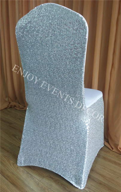 100pcs YHC#35 Luxury Sequin Around Silver Spandex Lycra Wedding Banquet  Events Polyester Stretchy Chair