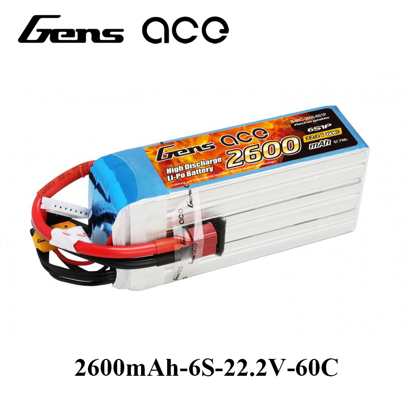 Gens ace Lipo Battery 22.2V 2600mAh Lipo 6S Battery Pack 60C T Plug Batteries for 500 Helicopter Airplane RC Accessories gens ace lipo battery 3s 5200mah lipo 11 1v battery pack 3 5mm banana connector 10c battery fpv hobbies rc models accessories