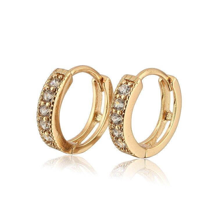 Aliexpress Sale Heart Zircon Earrings For Children Gold