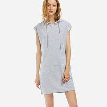 011df1c8c578 Women Drawstring Sleeveless Hoodies Heather Gray Dress Hoodie Sweatshirt Sporty  Dress Cotton Casual Dress Vestidos 2018New