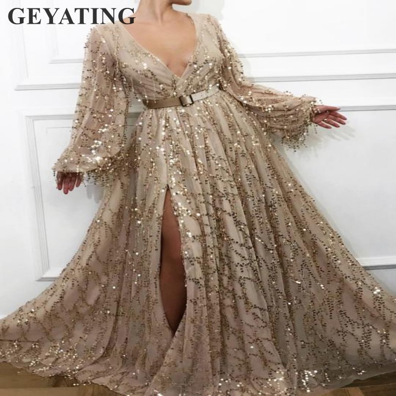 Glitter Sequins Champagne Gold   Prom     Dresses   Long Sleeves Sexy Deep V-Neck Side Slit African Black Girls Evening Party   Dress   2K19